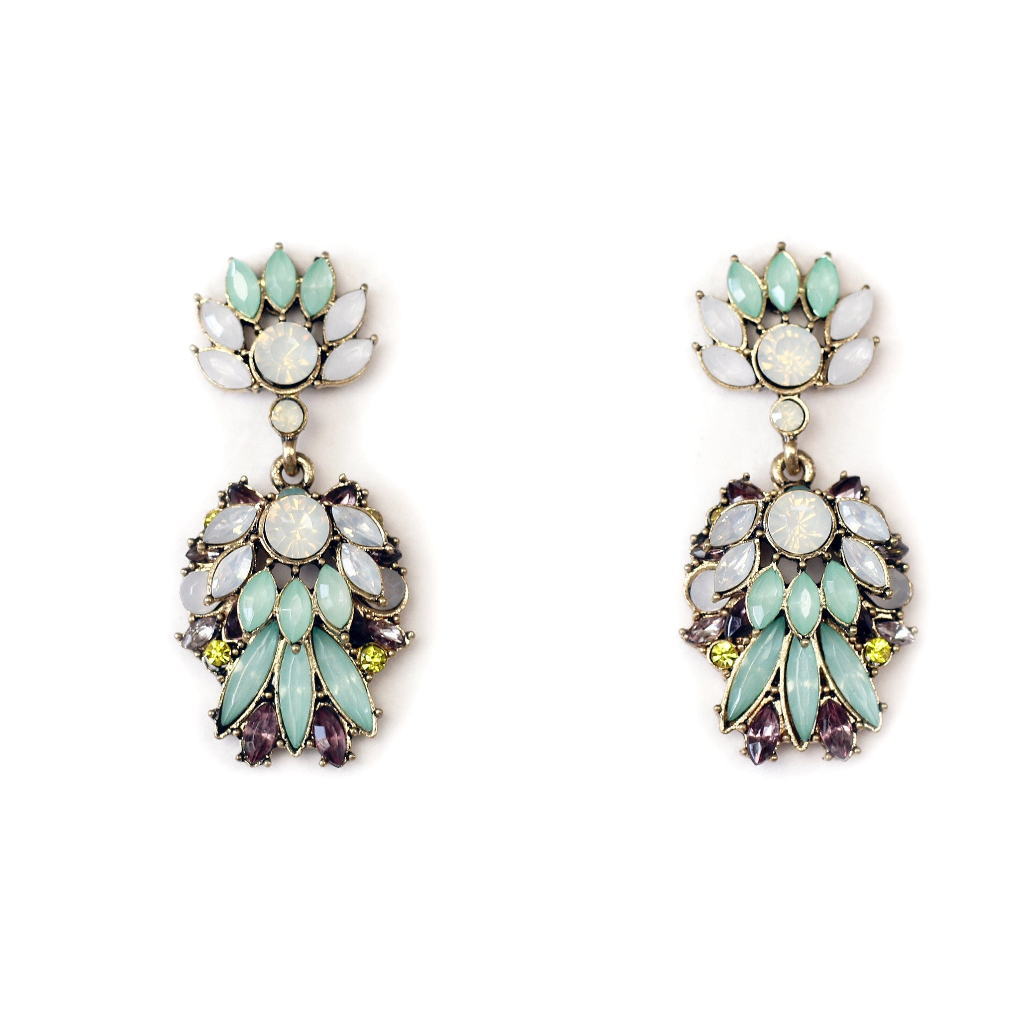 Nova Green/Purple Statement Earrings