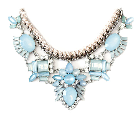Alaqua Blue and Light Brown Statement Necklace