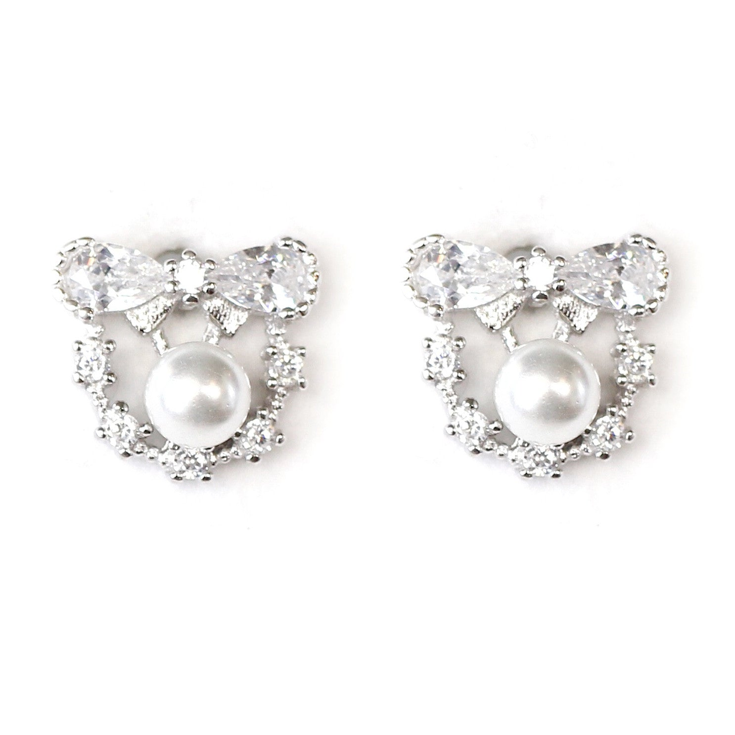 Marie Bow and Pearl Silver Earrings