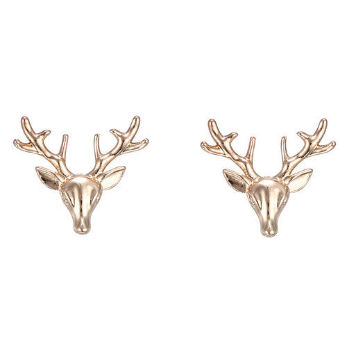 Gold Deer Statement Earrings