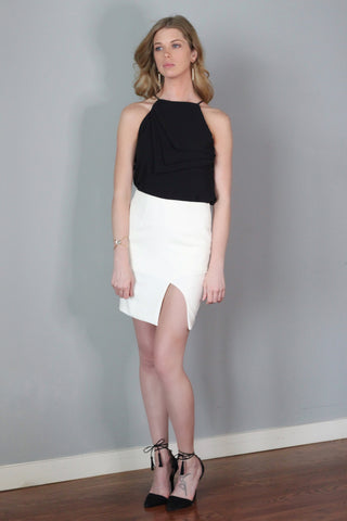 Hanni White Mini Slit Skirt