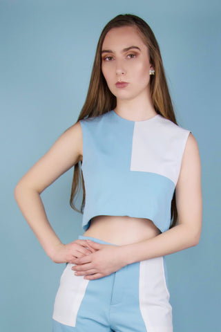 Ellie Blue and White Square Crop Top