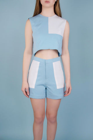 Emery Blue and White Shorts