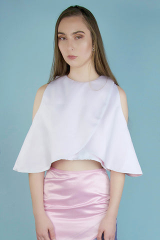 Carrie White and Pink Cape Top
