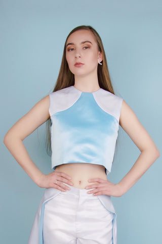 Betsy Blue and White Crop Top