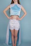 Brigitte White and Blue Shorts/Maxi Skirt