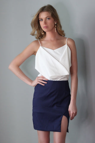 Hanni Navy Blue Mini Slit Skirt