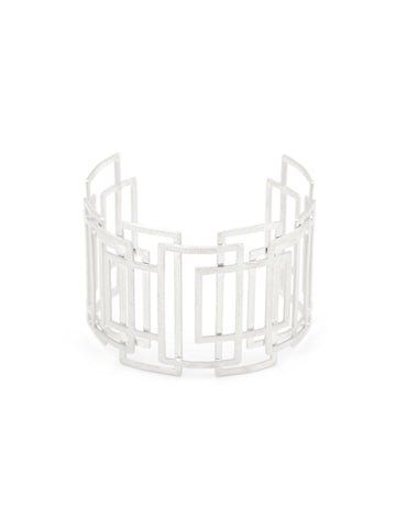 Olga Window Pane Silver Cuff