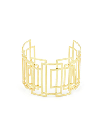 Olga Window Pane Gold Cuff