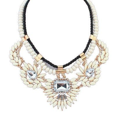 Bianca White Beaded Fashion Necklace - Micha Store  - 1