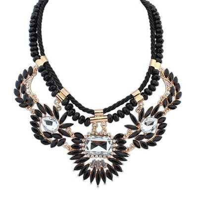 Bianca Black Beaded Fashion Necklace - Micha Store  - 1