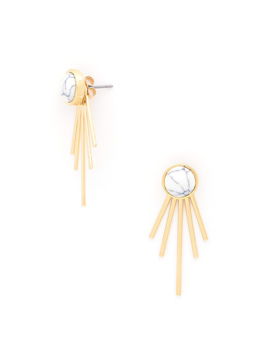 Alaia White and Gold Studded Earrings - Micha Store  - 1