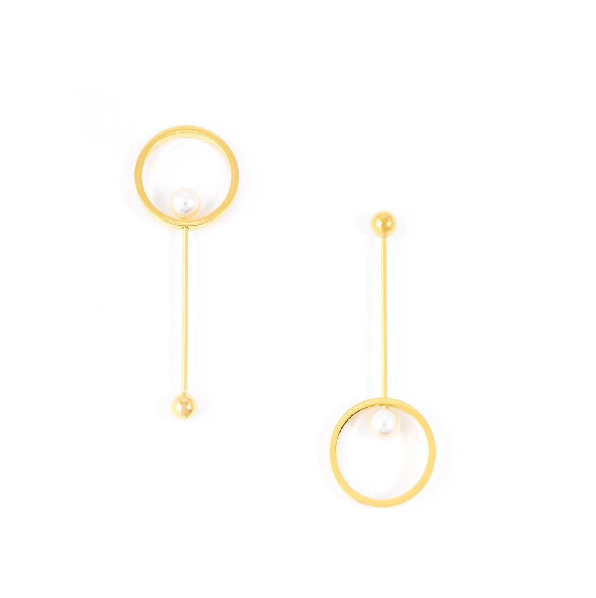 Milla Circle Gold Pearl Dangling Earrings