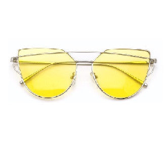 Marilyn Yellow - Silver Sunglasses