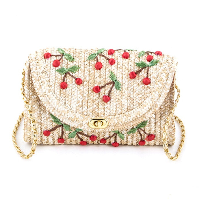 Embroidered Cherry Summer Straw Bag