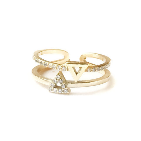 Tria Double Triangle Gold Ring
