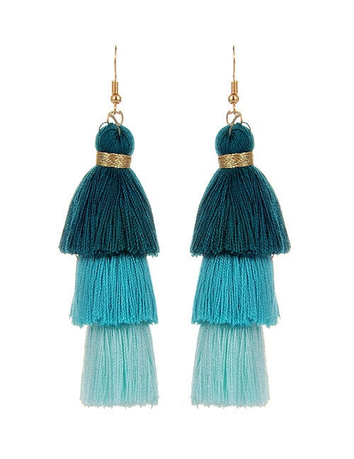 Minimoo Blue Tassel Earrings