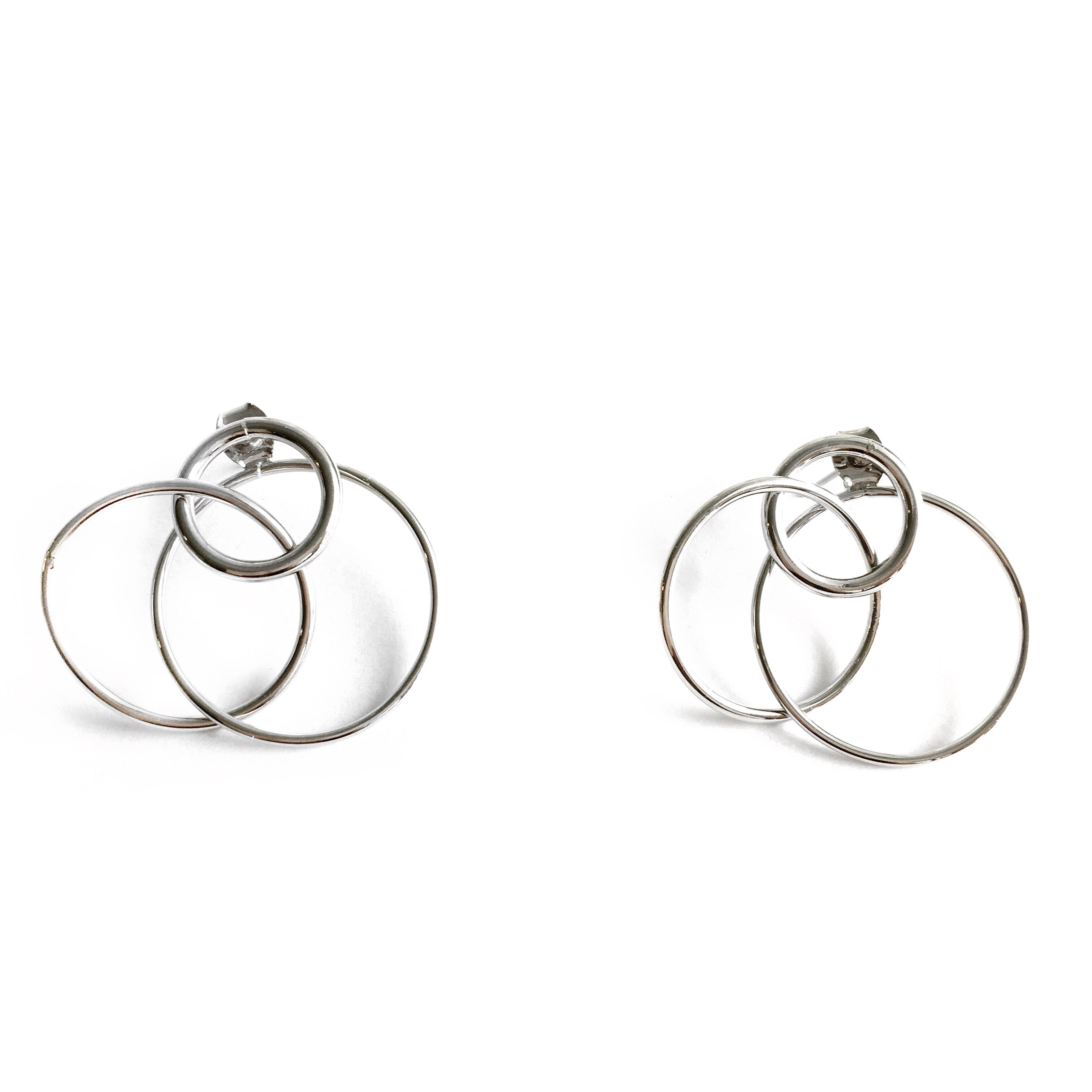 Tracy Circle Silver Earrings