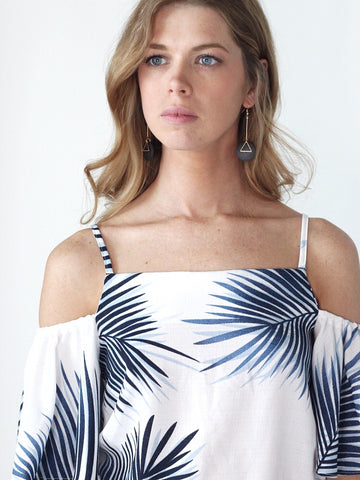 Blue Palm Trees Cold Shoulder Top