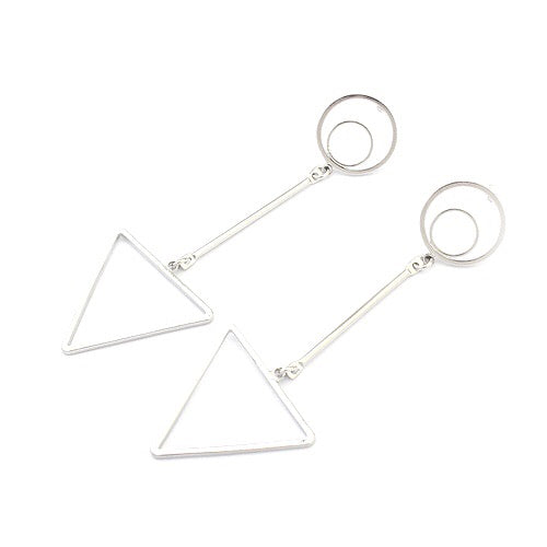 Triangle Arrow Silver Dangling Earrings