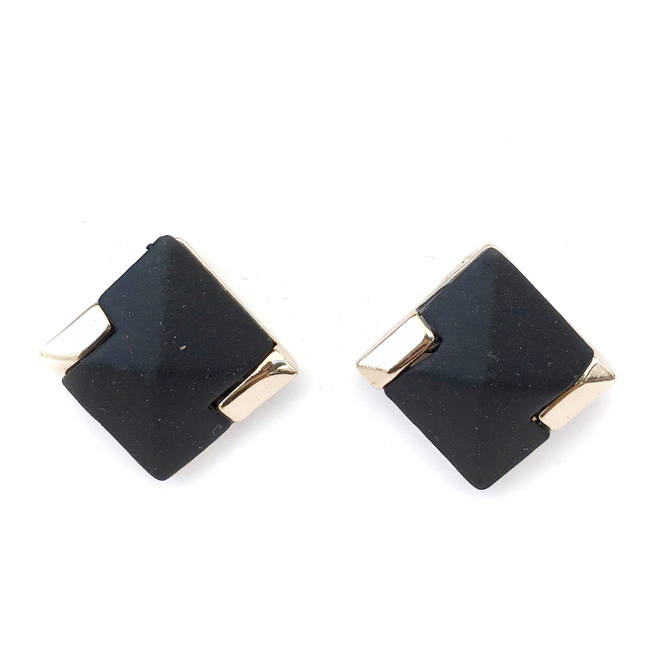 Stepphie Black and Gold Square Earrings