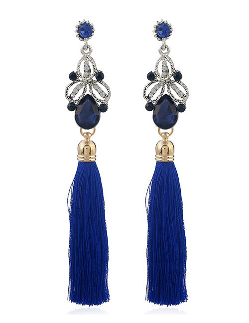 Oceanic Blue Tassel Earrings
