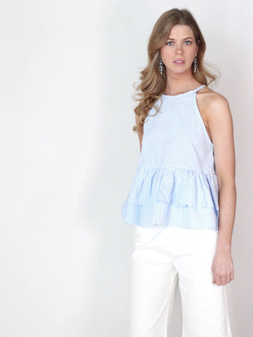 Chic Check Blue Gingham Ruffle Top