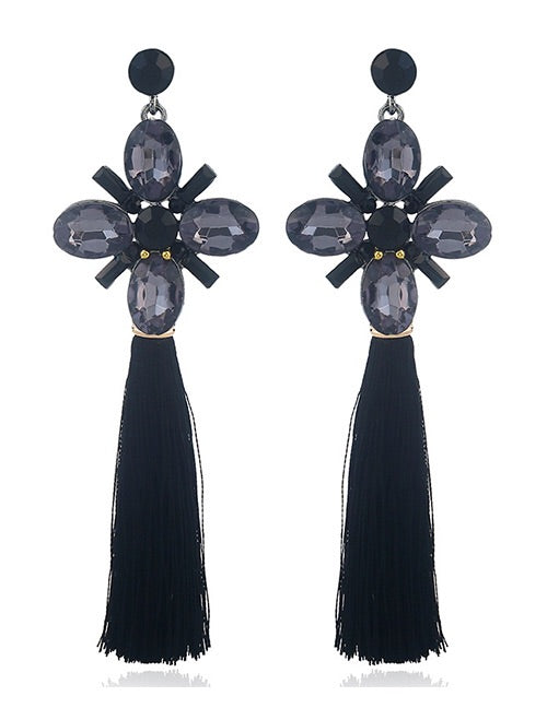 Sabrina Black Tassel Earrings