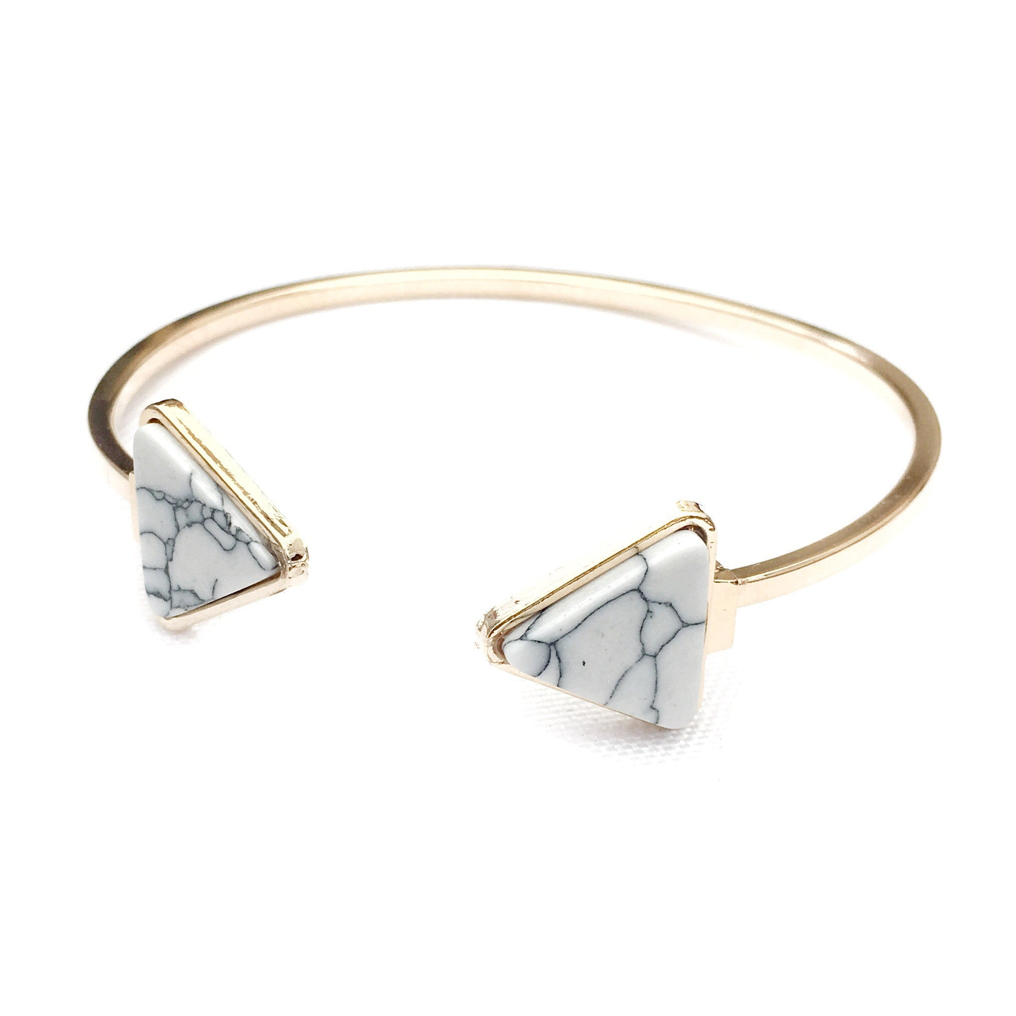 Marby Two Triangle Marble Gold Bracelet
