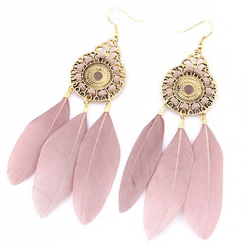 Irena Vintage Dreamcatcher Earrings Pink