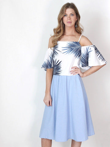 Light Blue Midi Full Skirt