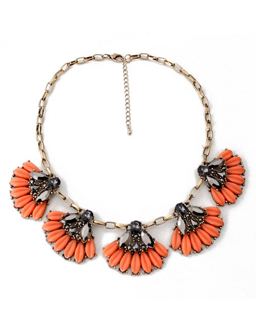 Farah Orange Peony Statement Necklace
