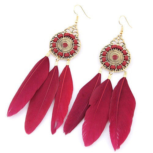 Irena Vintage Dreamcatcher Earrings Red