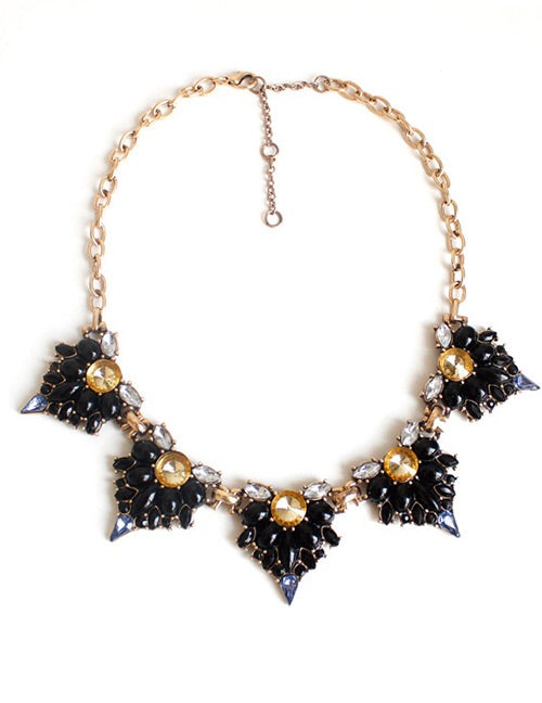 Ariana Black Geometric Statement Necklace