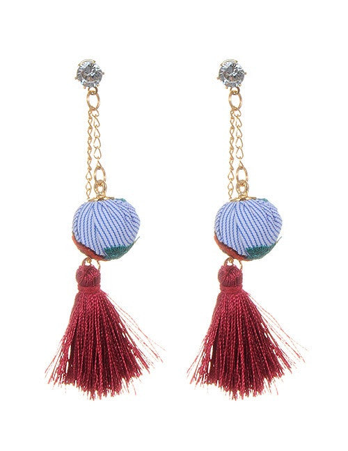 Becky Casual Tassel Blue and Red Earrings