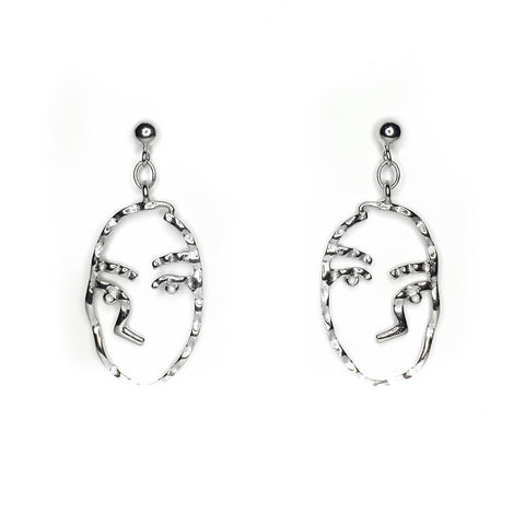 Abstract face art Sterling Silver