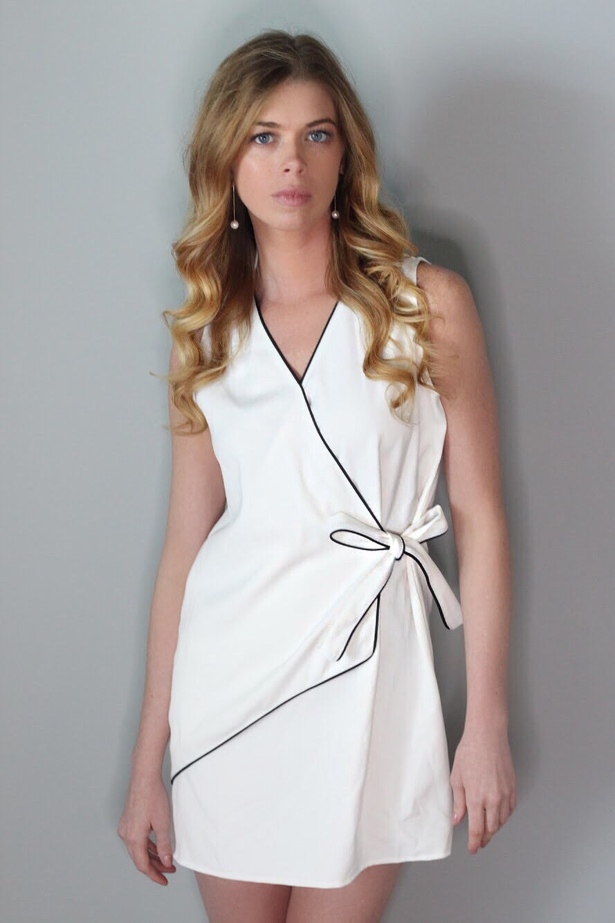 Emeline White/Black Wrap Dress