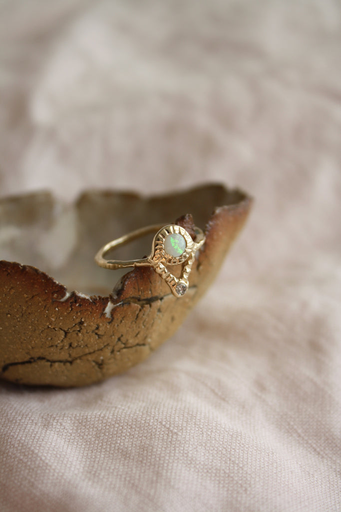 Opal & Diamond Journey Ring