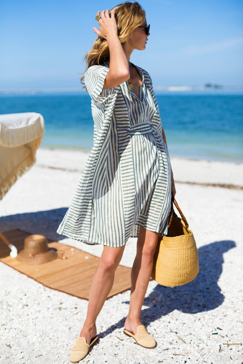 Emerson Short Caftan - Moss Stripe