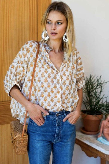 Mandarin Collar Top - Little Marigolds