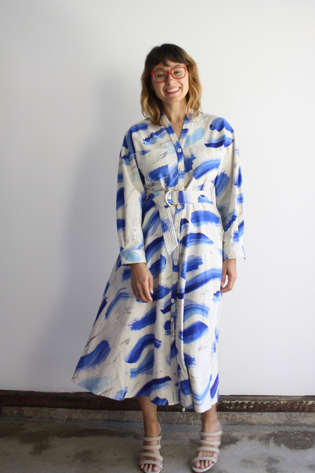 Samira Dress - Blue Strokes
