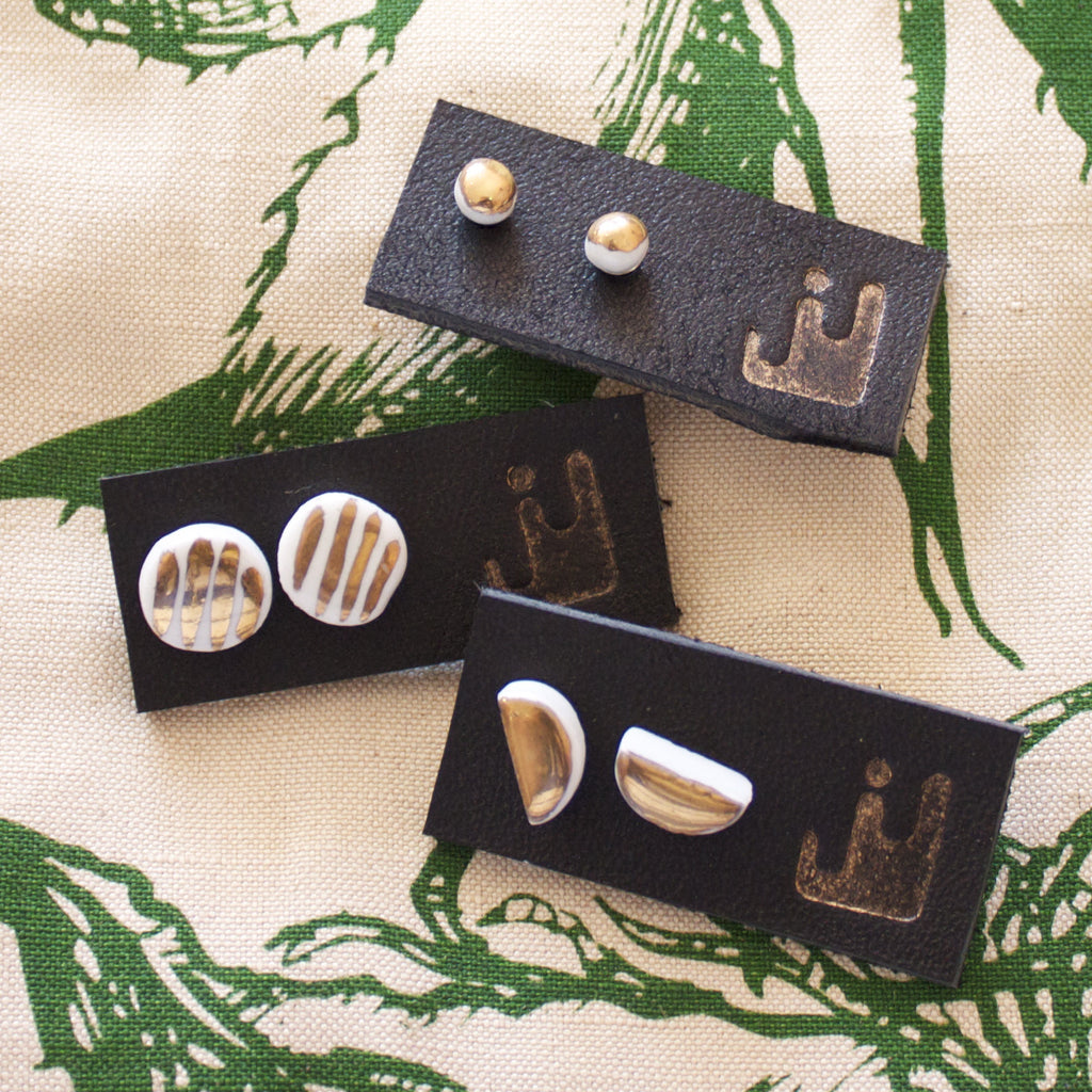 Porcelain & 14k earrings