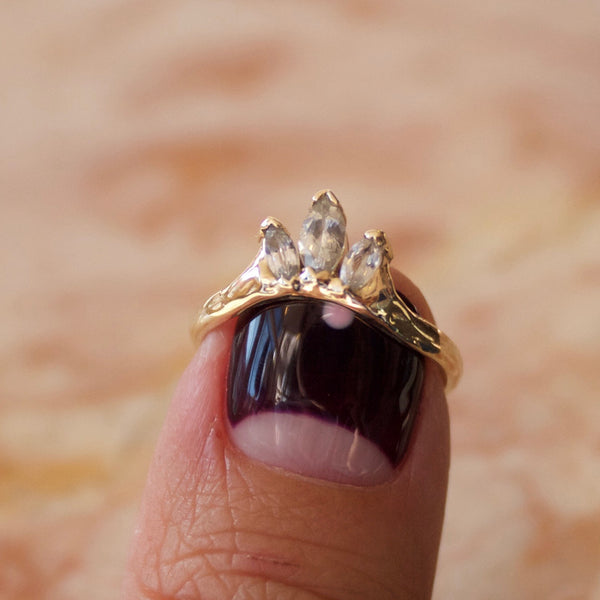 white sapphire crown ring