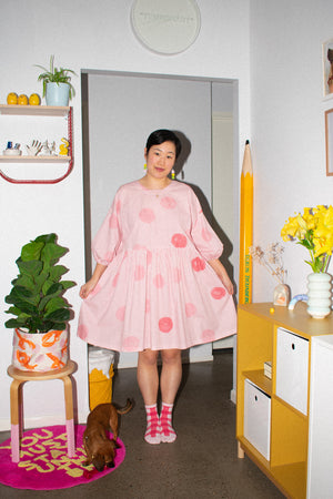 Tent Dress with Balloon Sleeves - Spots Pink