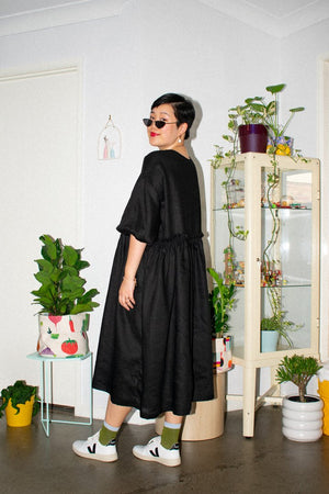 Long Tent Dress - Black Linen