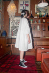 Tent Dress with Balloon Sleeves - White Linen - PRE-ORDER