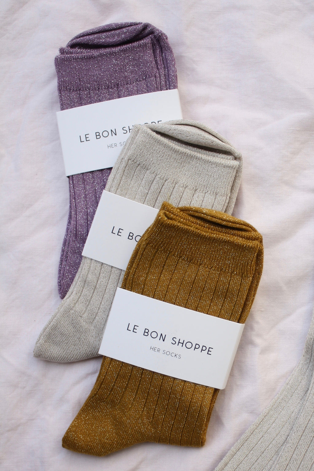 Le Bon Shoppe glitter socks in available colors: Lilac, Ivory and Mustard