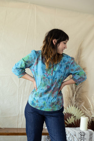 Carly Blouse - Blue Hand-Dye