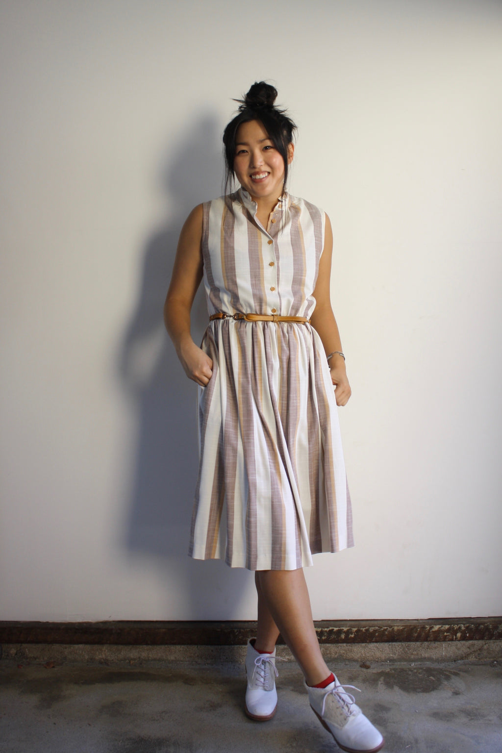 Julie Dress - Toffee Stripe