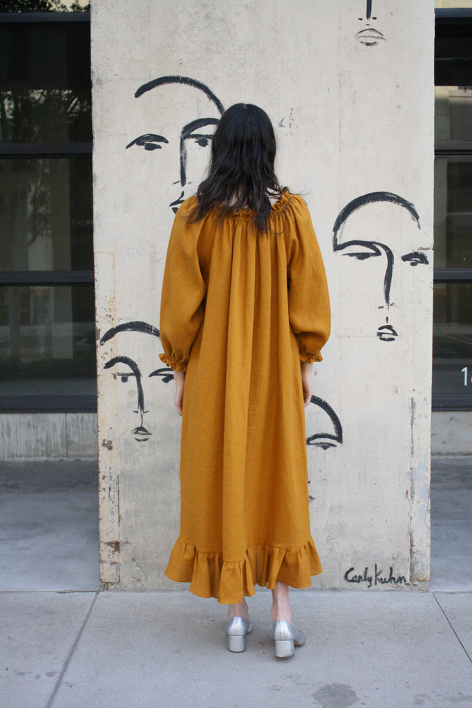 linen lounge dress - dijon orange